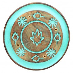 Incense Stick Round Wooden Holder Ash Catcher - Turquoise With Leaves