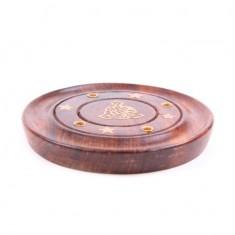 Incense Sticks Round Wooden Holder Ash Catcher - Sheesham Wood with Brass Buddha