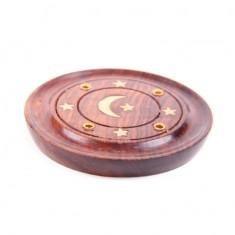 Incense Sticks Round Wooden Holder Ash Catcher - Sheesham Wood with Brass Crescent Moon