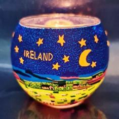 Ireland - Glowing Globe Glass Tea Light Candle Holder lit