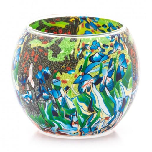 Irises - Glowing Globe Glass Tea Light Candle Holder