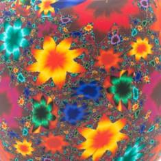 Kaleidoscope Flowers detail - Glowing Globe Glass Tea Light Candle Holder.jpg