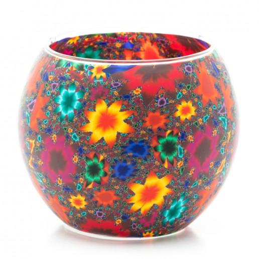 Kaleidoscope Flowers - Glowing Globe Glass Tea Light Candle Holder