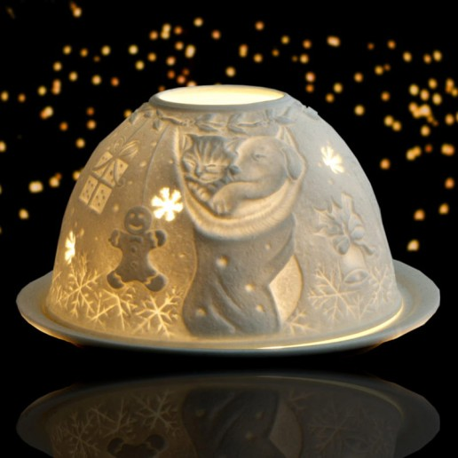 Kitten & Puppy - Glowing Dome Porcelain Tea Light Holder