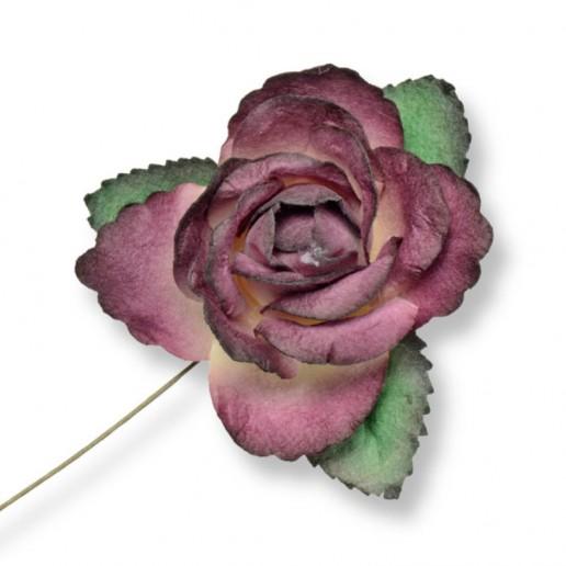 Large Paper Rosebud - Burgundy
