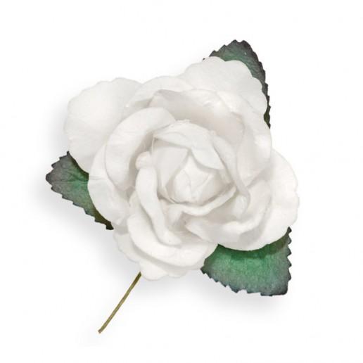 Large Paper Rosebud - White
