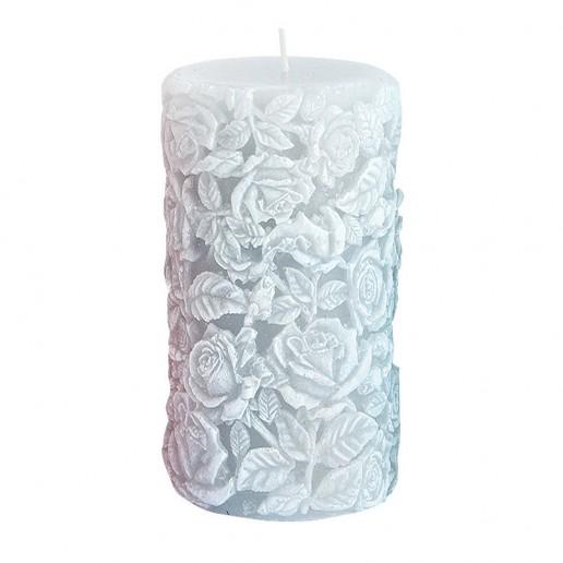 Large Sculpted Roses Pillar - Grey