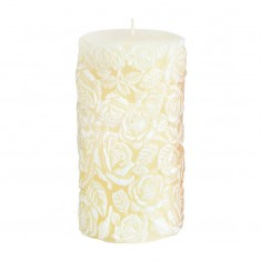 Large Sculpted Roses Pillar - Ivory