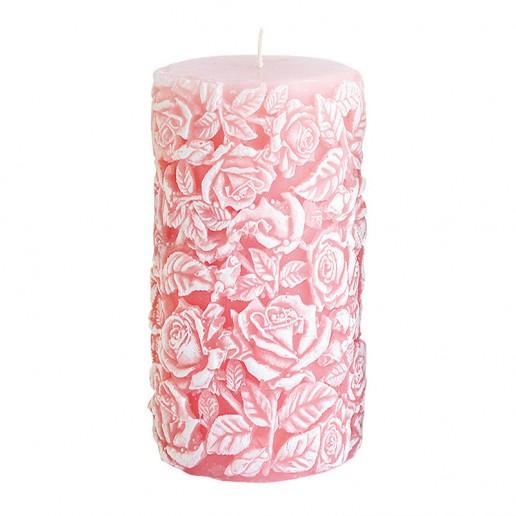Large Sculpted Roses Pillar - Pink.jp