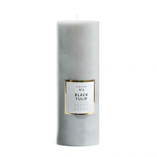 Large Shiny Pillar Candle - Black Tulip