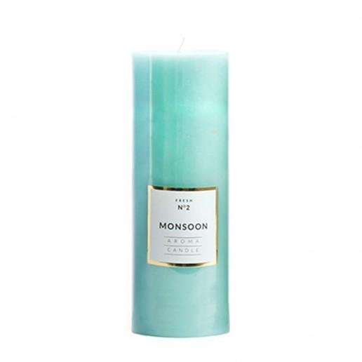Large Shiny Pillar Candle - Monsoon