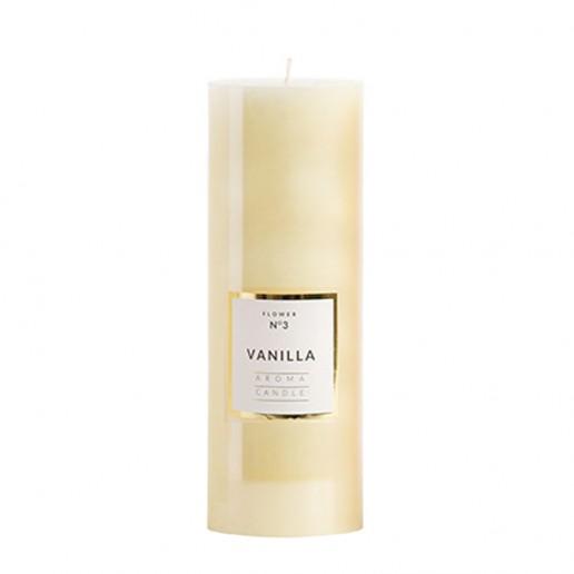 Large Shiny Pillar Candle - Vanilla