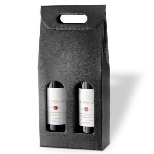 Black Leather-finish Presentation Box For 2 Wine Bottles