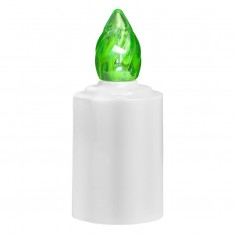 LED Battery - operated Candle - Green Flame Lit