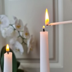 Long skinny candle lighting tapers