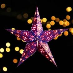 'Madras' Blue Copper Glitter - Large Paper Star Light lit