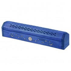 Mango Wood Incense Box For Sticks And Cones - Blue