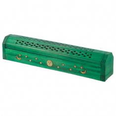 Mango Wood Incense Box For Sticks And Cones - Green