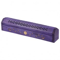Mango Wood Incense Box For Sticks And Cones - Purple
