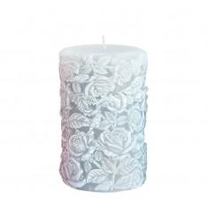 Medium Sculpted Roses Pillar - Grey.jp