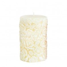 Medium Sculpted Roses Pillar - Ivory