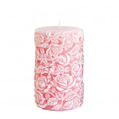Medium Sculpted Roses Pillar - Pink