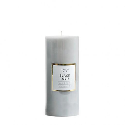 Medium Shiny Pillar Candle - Black Tulip