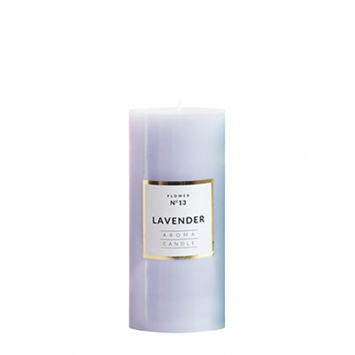 Medium Shiny Pillar Candle - Lavender