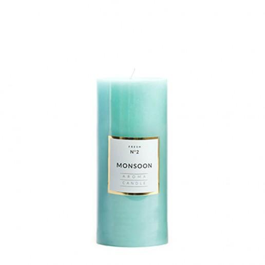 Medium Shiny Pillar Candle - Monsoon