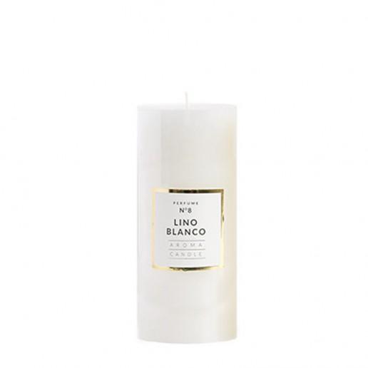 Medium Shiny Pillar Candles - Lino Blanco