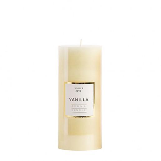 Medium Shiny Pillar Candles - Vanilla