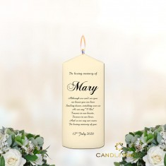 Memorial Personalised Candle Name and Verse - Small Ivory