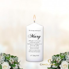 Memorial Personalised Candle Name and Verse - Small White