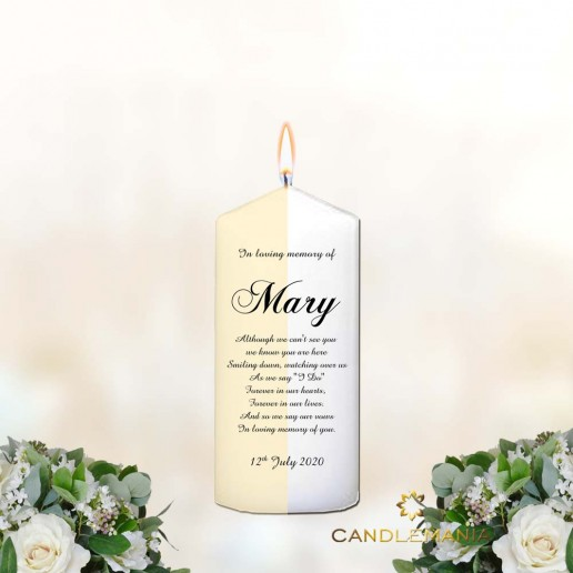 Memorial Personalised Candle Name and Verse - Small