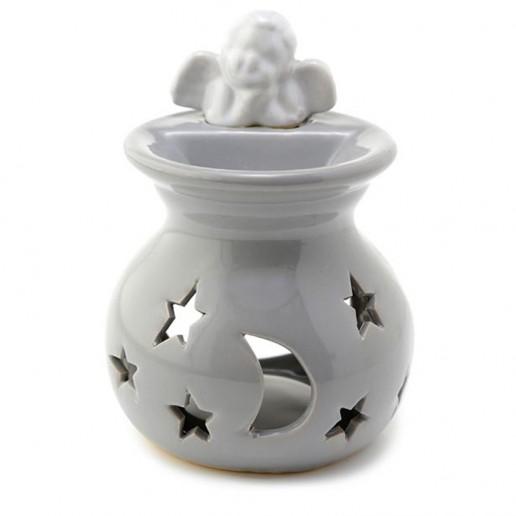 Moon And Stars Cherub - Ceramic Oil And Tart Burner - Grey