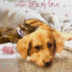 Mother's Day Card - Cat And Dog closeup