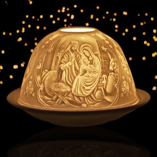 Nativity - Glowing Dome Porcelain Tea Light Holder