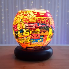 Orange Town lit - Glowing Globe Glass Tea Light Candle Holder