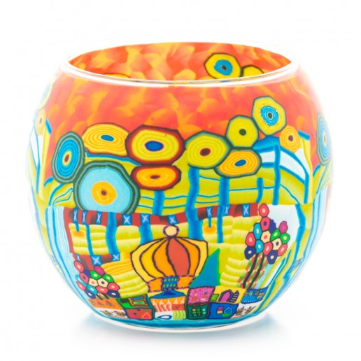 Orange Village - Glowing Globe Glass Tea Light Candle Holder