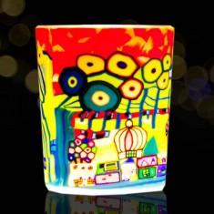 Orange Village - Glowing Votive Glass Tea Light Candle Holder lit
