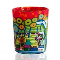 Orange Village - Glowing Votive Glass Tea Light Candle Holder