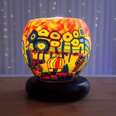Orange Village lit - Glowing Globe Glass Tea Light Candle Holder