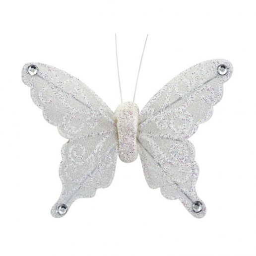 Organza Butterfly with Clip White