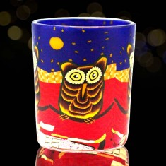 Owl - Glowing Votive Glass Tea Light Candle Holder lit