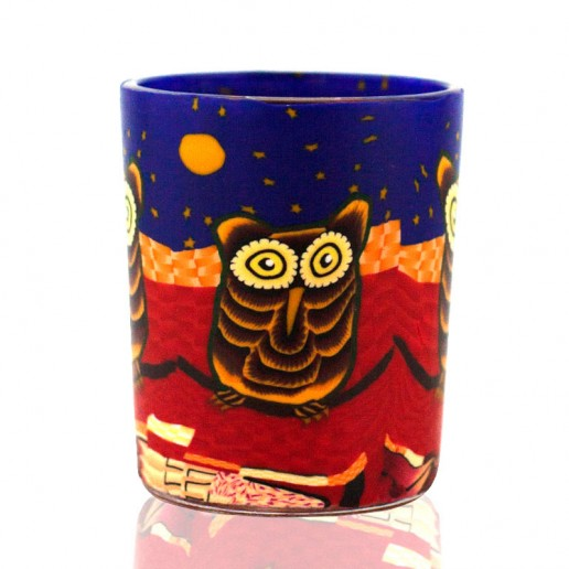 Owl - Glowing Votive Glass Tea Light Candle Holder