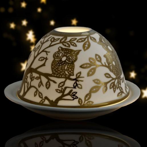 Owls - Glowing Dome Porcelain Tea Light Holder