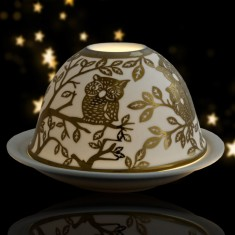 Owls - Glowing Dome Porcelain Tea Light Holder