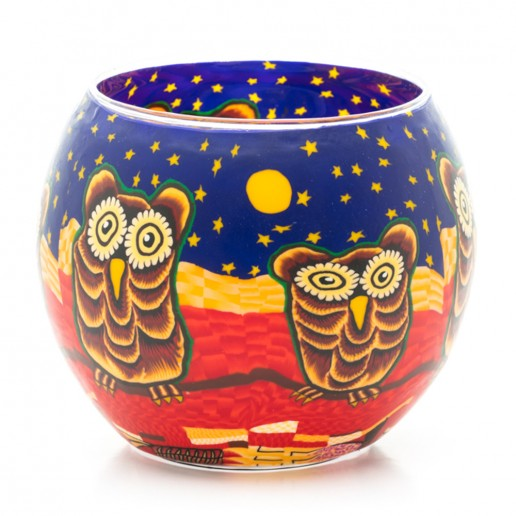 Owls - Glowing Globe Glass Tea Light Candle Holder