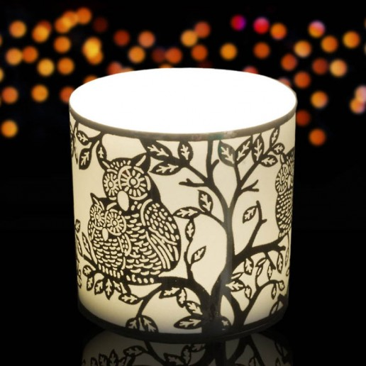 Owls - Porcelain Tea Light Candle Holder