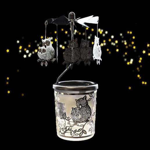 Owls - Spinning Tea Light Candle Holder